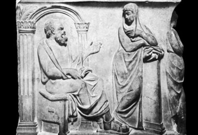 Socrates dialoguing with an interlocutor.